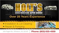 Holt's Construction and Septic Tank Service